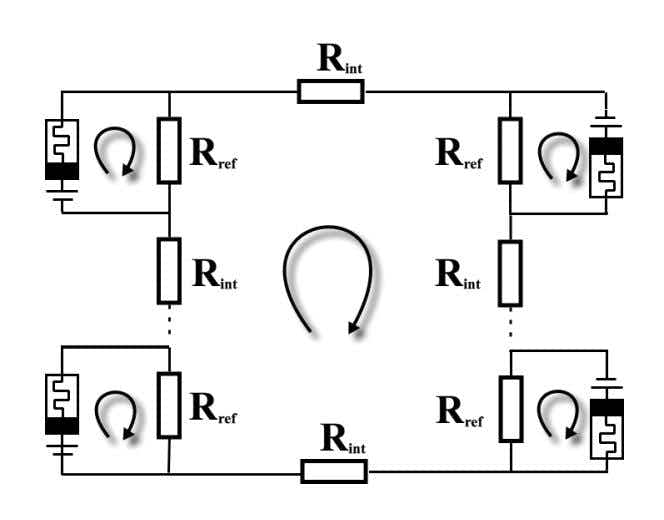 Exactly solvable model of memristive circuits: Lyapunov functional and mean field theory